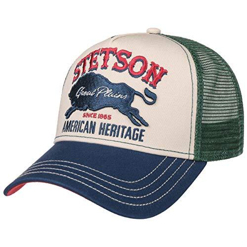Stetson Gorra Trucker The Plains Hombre - de Beisbol Baseball Curved Brim Cap Snapback, con Visera, Visera Verano/Invierno - Talla única Verde