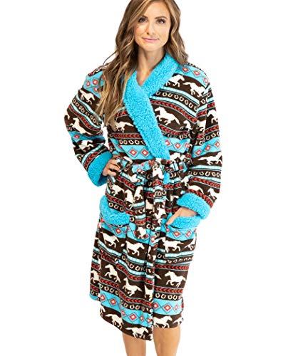 Lazy One Horse Fair Isle Ultra-Cozy Bathrobes for Women (L/XL)