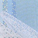 N/ Patrón 7pcs Serie Azul Tela de algodón Floral de la Flor de Costura de Materiales Textiles para el Bricolaje Remiendo de Cama POCNQYL