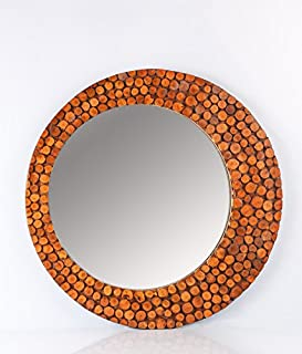 Logam Round Natural Lyptus Wood Decorative Wall Mirror, 61 x 61 x 4 cm