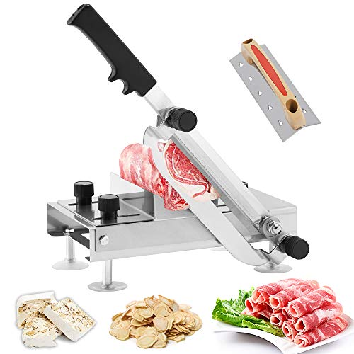 BAOSHISHAN Cortafiambres de Carne Congelada Manual Cortadora de Embutidos Doméstico Máquina de Corte para Jamón/Queso/ Hot Pot/Turrón