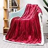 Homde Heated Blanket Electric Throw 50'' x 60'' Flannel Heated Blanket with Fast Heating Levels & 4 Hours Auto-Off, ETL Certification, Overheating Protection, Machine Washable (Red & White)