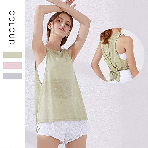Yogakleding Dames Vest Sneldrogend Sport Hardlopen Fitnesskleding Overhemd Losse Blouse,Green,M