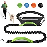 Hands Free Dog Leash for Running Walking Jogging Training Hiking, Retractable Bungee Dog Running Waist Leash for Medium to Large Dogs, Adjustable Waist Belt with Pack, Reflective Stitches, Dual Handle