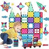 Bloques de Construcción Magnéticos Niños y Niñas de 3 4 5 6 7 8 Años 120 Piezas Juguete Educativo con Figuras Geométricas Juguetes Construcciones Tile Magneticas