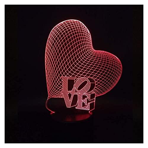 nakw88 Lámpara Escritorio Amor luz LED gradiente Colorido 3D estéreo táctil Remoto USB luz de Noche mesita de Noche decoración Creativa Escritorio Regalo de Cumplea?os Boda 20 * 13 cm