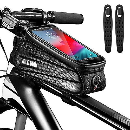 CHYBFU Bolsa de Movil Bicicleta Manillar, Soporte Impermeable Accesorios Bicletas Porta Bike Montaña Frame Bag, Táctil de Tubo Superior Delantero, para Teléfono Inteligente por Debajo de 6,5 Pulgadas