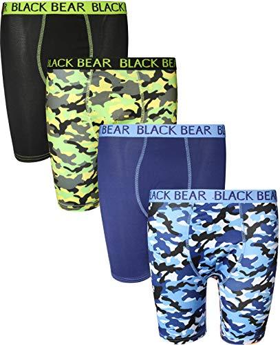 Black Bear Performance Dry-Fit Kompressions-Boxershorts für Jungen (4 Stück), Blau (Green Camo, Blue Camo), Medium / 8-10