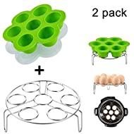 Lakatay Steamer Basket With Egg Steamer Rack for Instant Pot Accessories and 5/6/8 qt Pressure Cooker Stainless Steel Vegetable Steam Rack Stand Pack of 2 (Silicone Bites Molds + Steamer Rack)