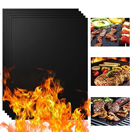 KOROSTRO Grillmatte, 5er Set Backmatte BBQ Matten mit 1 Silikon Bürste, Wiederverwendbar 100% Antihaft Grillmatten für Gasgrill, Holzkohlegrill & Elektrogrill, für Fleisch, Fisch & Gemüse 40x33cm