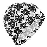 Tcerlcir Gorro Natación Patrón de limón Blanco Negro Gorro de Piscina para Hombre y Mujer Hecho de Silicona Ideal para Pelo Largo y Corto