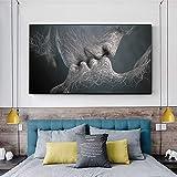 MJKLU Moderno nórdico Abstracto líneas de Pelusa Pareja Amor Beso Hombre Mujer Lienzo Pintura Pared Arte Cartel Impresiones Dormitorio Sala de Estar Oficina Estudio decoración del hogar