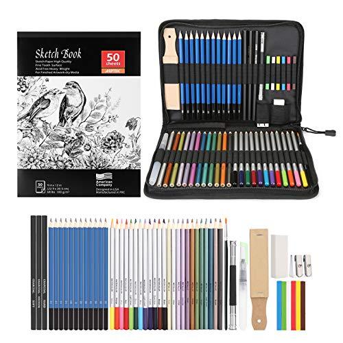 AGPTEK 53pcs Drawing and Sketching Pencil Set, With Pencil, Watercolor Pencil,...