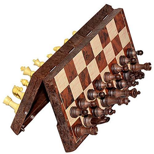 YYMM Juego Internacional de Ajedrez, Juegos de Plegado de Madera portátil 3In1, Checkers Puzzle Travel Tour Tabetop Juguete, Regalo de cumpleaños comprometido, para niños de Toda la Edad