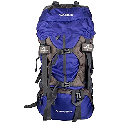 WASING 55L Internal Frame Backpack Hiking Backpacking Packs for Outdoor Travel Climbing Camping Mountaineering with Rain Cover - Lightblue