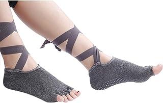 KINDOYO Women Toeless Socks - Ballet Pilates Dance Non Slip Breathable Straps Socks with Grips