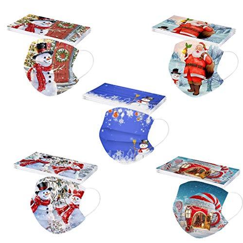 XCVBX 50/100 Stück Einweg_Erwachsene Mundschutz Gesichtsschutz Weihnachten Gedruckt Atmungsaktiv Unisex