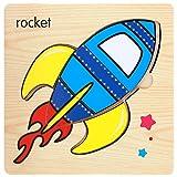 winwintom Puzzles de Madera, Madera Linda Coche/Avión/Cohete Encantador Rompecabezas Educativo Desarrollo Bebé Niños Formación Juguete Regalo (Modelo_C)