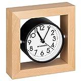 Navaris Reloj de Mesa analógico - Reloj clásico de Madera silencioso - Decorativo para sobremesa mesilla de Noche salón - Marrón Claro y Blanco