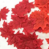 Biowow Silk Artificial Leaves Red Fall Autumn Maple Leaf for Wedding Events Garden Decorations 200 Pcs