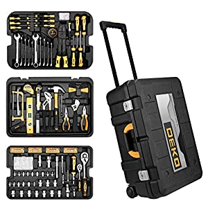 DEKOPRO 258 Piece Tool Sets Hand Tool Kit with Rolling Tool Box Socket Wrench Mechanic Case Trolley Portable