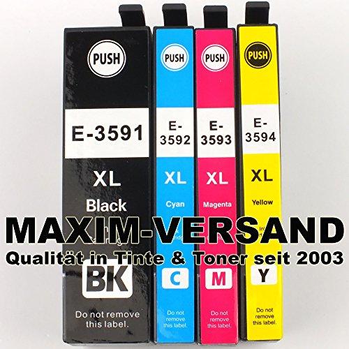 4 Druckerpatronen ersetzen Epson 35XL Multipack kompatibel zu T3591 T3592 T3593 T3594 mit Chips und Füllstandsanzeige passend zu Epson Workforce Pro WF-4720DWF WF-4725DWF WF-4730DTWF WF-4740DTWF