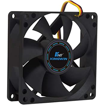 Kingwin 80mm CF-08LB Silent Fan, For Computer Cases, CPU Coolers, Long Life Bearing, Quiet Efficient Cooling, and Provide Excellent Ventilation for PC Cases-[Black]