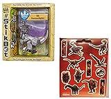 Stikbot Dino Stik Parasaurolophus Gray Figure + One Sheet of 12 Dinosaur Stickers Bundle (2 Items)