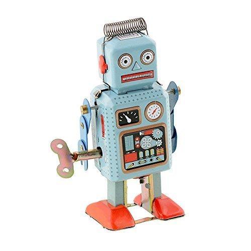 Peradix Funny Dark  Green Clockwork Spring Wind Up Metal Walking Robot Retro Vintage Mechanical Kids Toddlers Children Toy