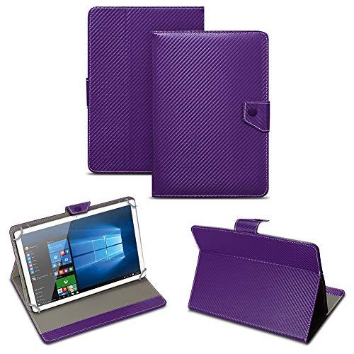 NAUC Universal Tablet Tasche mit Standfunktion Hülle für Blaupunkt Endeavour 101M 101G 101L Tablet Schutztasche in edler Carbon-Optik Schutzhülle Cover Hülle, Farben:Lila