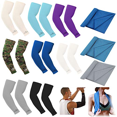 8 Pairs Compression Cooling Arm Sleeves Cover UV Sun Protection Ice Silk Cooling Elbow Sleeve Arm Warmer Sleeves For Men Women Sports Driving Cycling Basketball Running Golf with 3 Cooling Towels