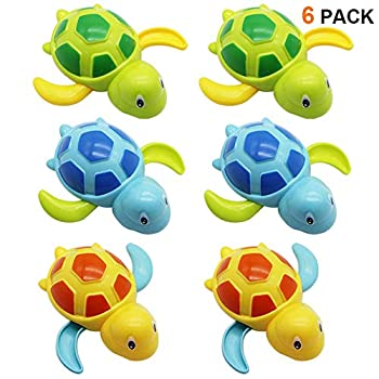 Happy Trees 6 Pcs Bath Turtle Toy Wind-Up Swimming Turtles Bathtub Turtle Water Toy for Baby Toddler