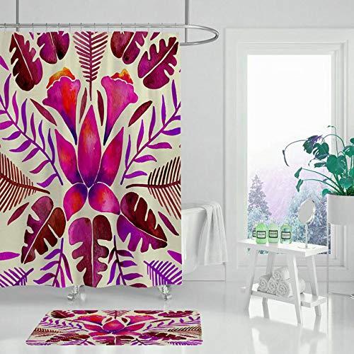 FFto Tenda da doccia Fiore Rosa Set tappeto antiscivolo bagno tappetino antiscivolo tenda da bagno impermeabile