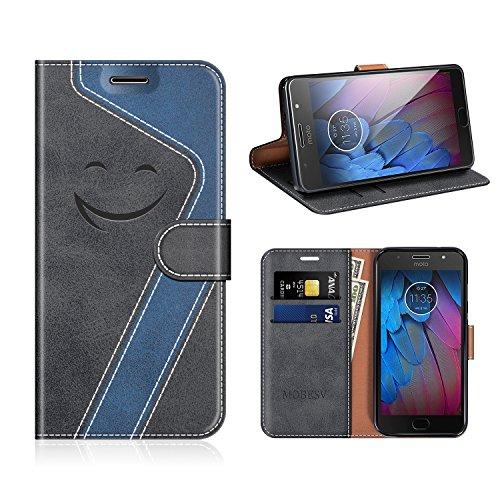 MOBESV Smiley Motorola Moto G5S Hülle Leder, Motorola Moto G5S Tasche Lederhülle/Wallet Hülle/Ledertasche Handyhülle/Schutzhülle für Motorola Moto G5S, Schwarz/Dunkel Blau