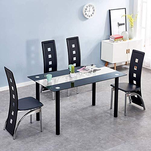 Moderna mesa de comedor y sillas negro cuatro conjuntos,Black