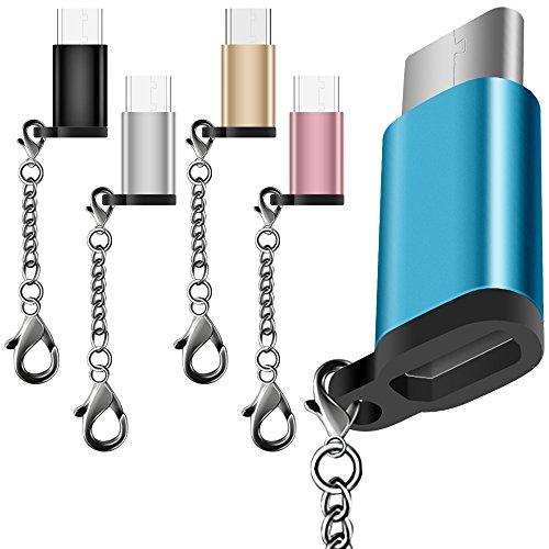 AFUNTA 5 Pack USB Typ C Adapter mit 5 Farben, USB C zu Micro USB Convert Connector Schnelle Ladegerät mit Schlüsselanhänger für Samsung Galaxy S8 Neue MacBook Pixel XL Nexus 5X 6P
