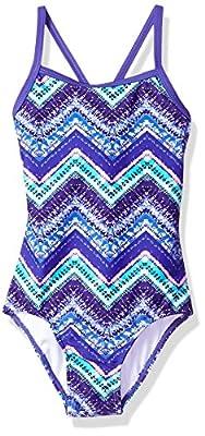 Kanu Surf Girls' Big Layla Beach Sport Banded 1 Piece Swimsuit, Kirsten Purple Chevron, 14