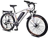 Alta Velocidad 26 Pulgadas de la Rueda de Bicicleta eléctrica de aleación de Aluminio 36V 13Ah de la batería de Litio de montaña Bicicleta de Ciclo, 27 Transmisión de Bici Ligera (Color : White)