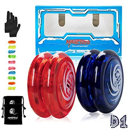 MAGICYOYO D1 GHZ Looping Yoyo Responsive JoJo für Kinder, Anfänger Yo Yo mit 10 Ersatzschnüren, 2 Yo-Yo Handschuh, 2 Tasche (D1 2er Pack, Blau + Rot)
