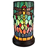 Amora Lighting Tiffany Style Accent Lamp 10' Tall Stained Glass Yellow Red Dragonfly Floral Vintage Antique Light Decor Nightstand Living Room Bedroom Gift AM270ACCB, Multicolor