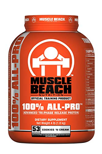 Muscle Beach Nutrition 100% All-Pro Advanced Tri-Phase Release Whey Protein Isolate Concentrate, Micellar Casein for Men & Women - Workout Supplement to Recover Muscles - Cookies 'N Cream, 4lb