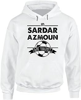 in Sardar Azmoun We Trust Tee Cool Iran Soccer World Cup Hoodie. Black