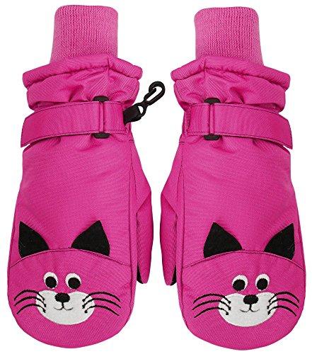 SimpliKids Boys Winter Ski Mitten Gloves,S,Hot Pink 15 Cat