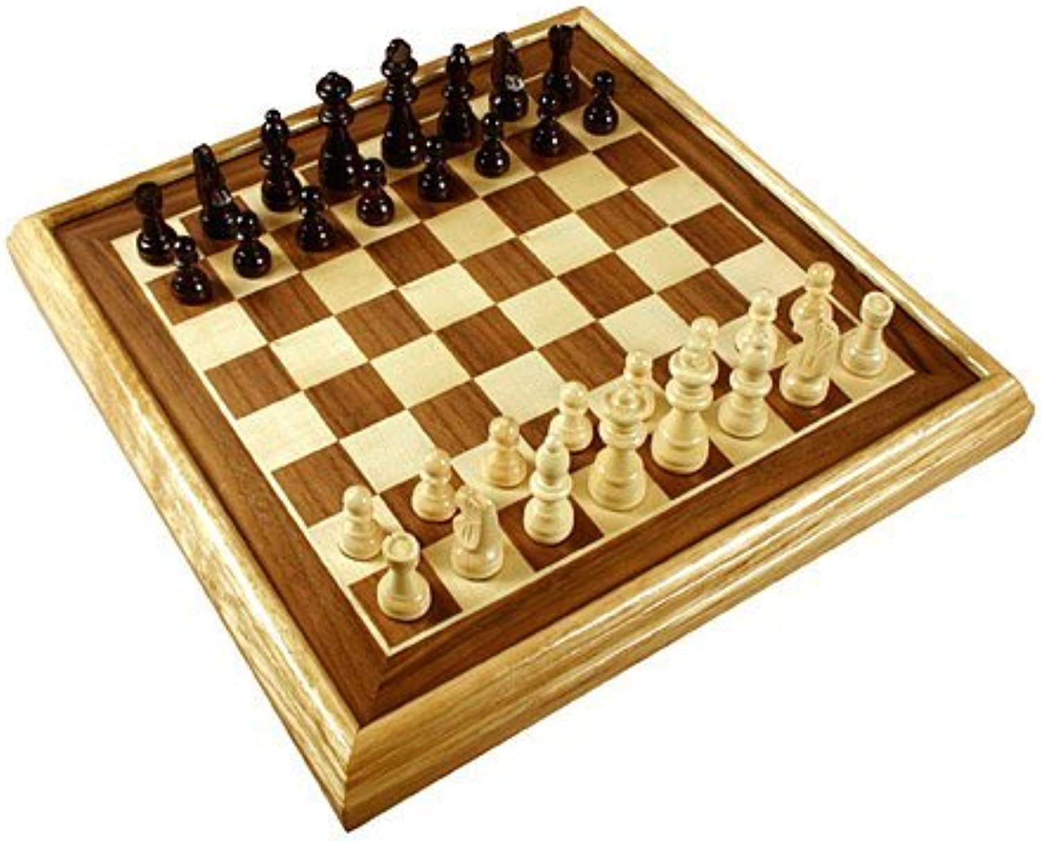 16 Deluxe Inlaid Wood Chess Set w Pieces by Da Vinci Imports