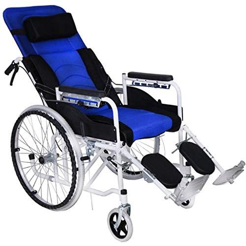 Chunse Leichter zusammenklappbarer Rollstuhl mit Selbstantrieb, 6-Gang-Rückenlehnenverstellung Liegender Rollstuhl für ältere Menschen,Blue
