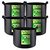 VIVOSUN 5-Pack 5 Gallon Grow Bags Heavy Duty 300G Thickened Nonwoven...