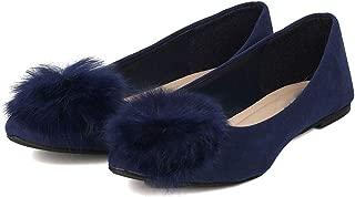 Womens Slip On Pom Pom Ballet Flats Fashion Adorable Casual Shoes