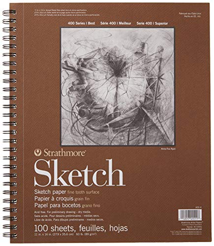 """Strathmore (455-4 400 series sketch pad, 11 by 14"""", white, 100 sheets"""