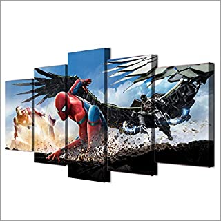 Art0264 5 Piece Wall Art Canvas Prints Pictures Frame Modern Decor Hd Printed Movie Posters Living Room Spider Man Homecoming Canvas Paintings Wall Art (31.5 X 60Inch) Framed