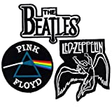 Set_ROCK010 - Pink Floyd Patch, The Beatles Band Patches and Led Zeppelin Patch, 3 Pcs Heavy Metal Patches, Applique Embroidered Patches - Rock Band Iron on Patches